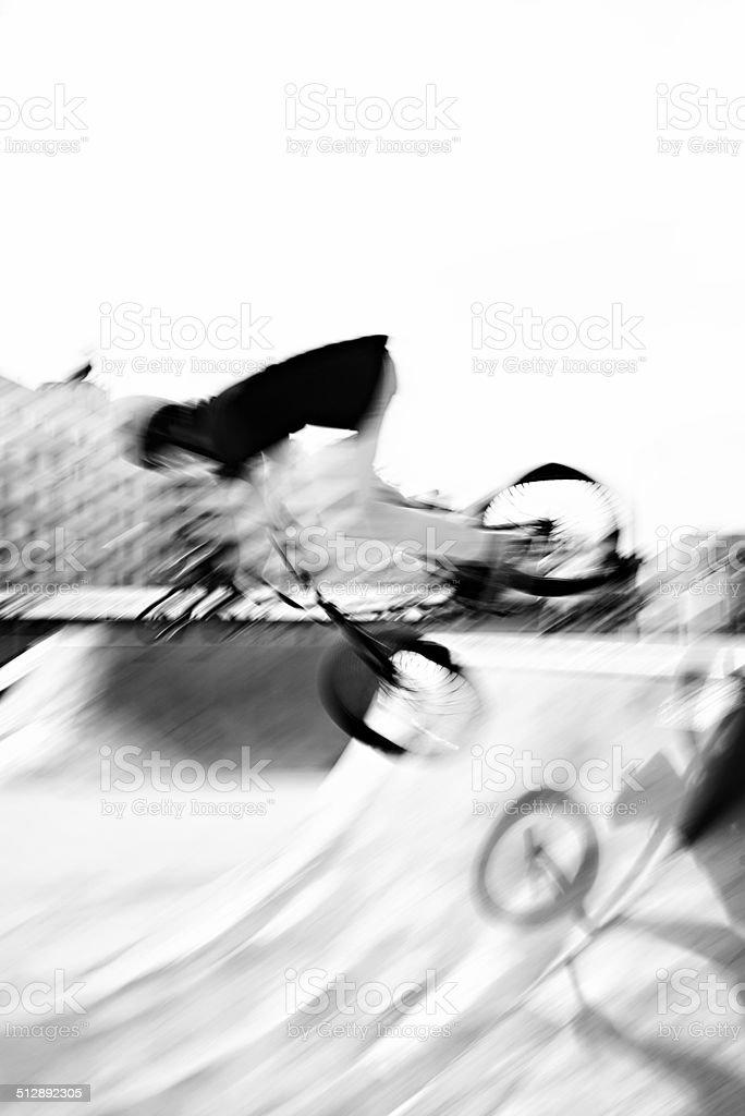 BMX rider in blur motion
