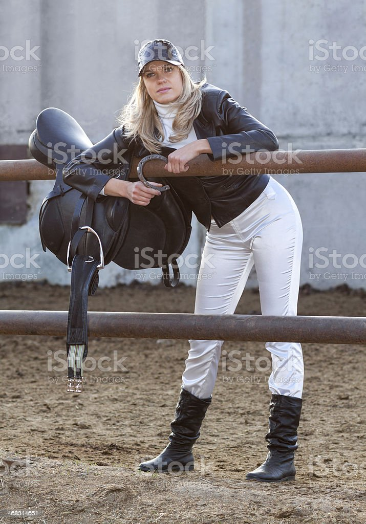 Rider with ammunition and horseshoe royalty-free stock photo