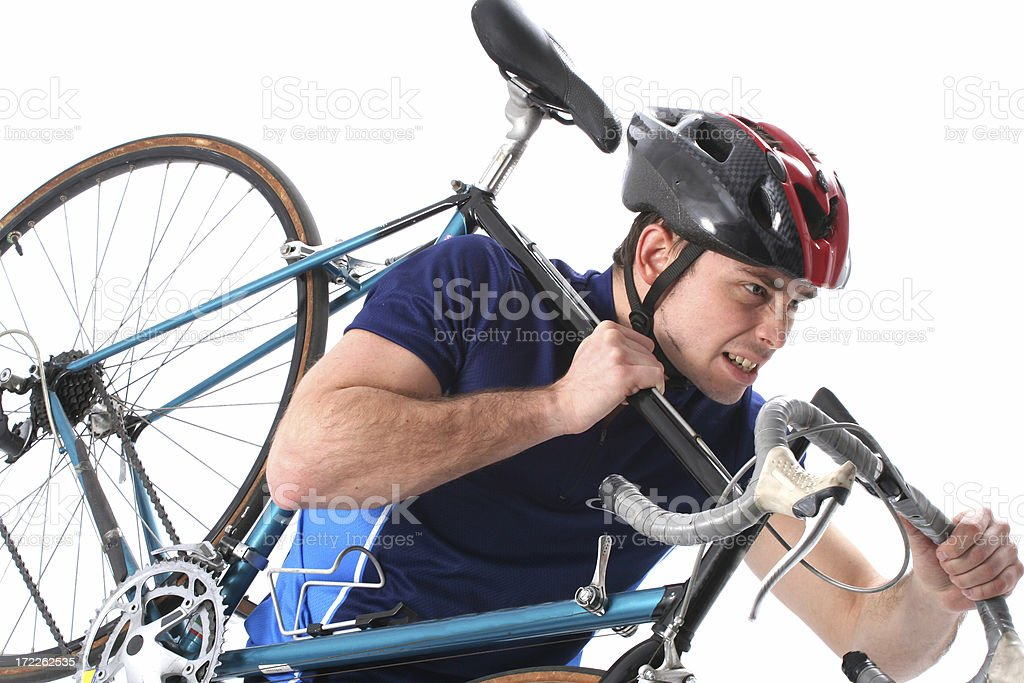 Rider with bike on his arm royalty-free stock photo