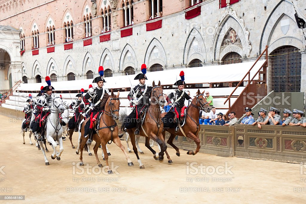 Riders compete in horse race 'Palio di Siena' stock photo