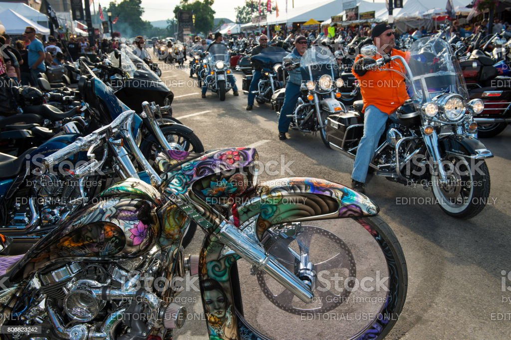 Riders in the main street of the city of Sturgis, in South Dakota, USA, during the annual Sturgis Motorcycle Rally stock photo