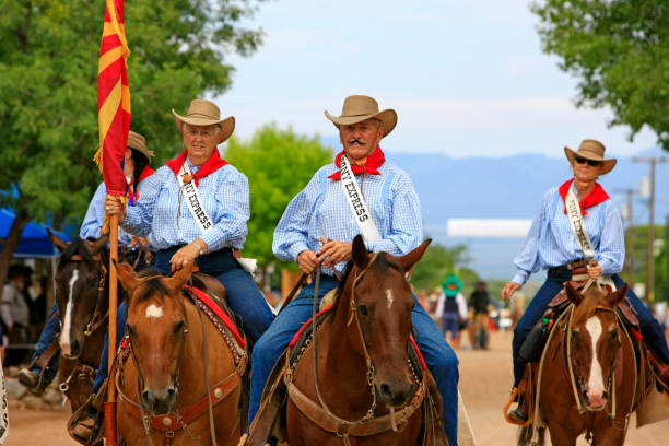 Riders of the Pony Express at the annual Doc Holiday parade in Tombstone, Arizona stock photo