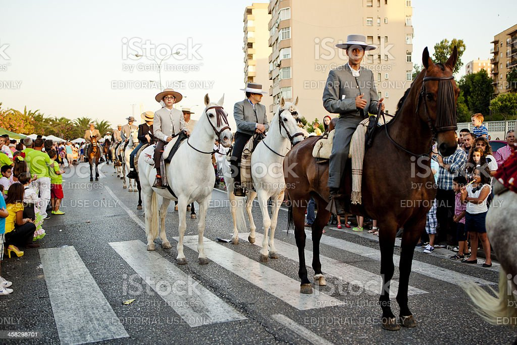 Riders on Horseback in Andalusian Spring Parade royalty-free stock photo