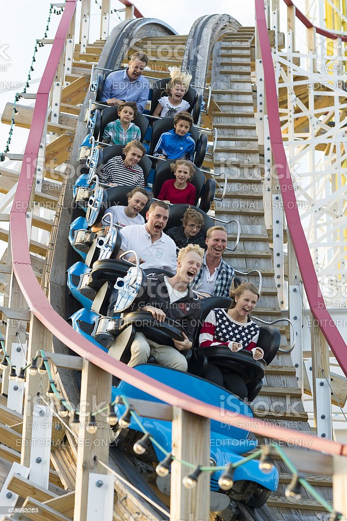 Riders scream on a ride at Stockholm's Grona Lund royalty-free stock photo