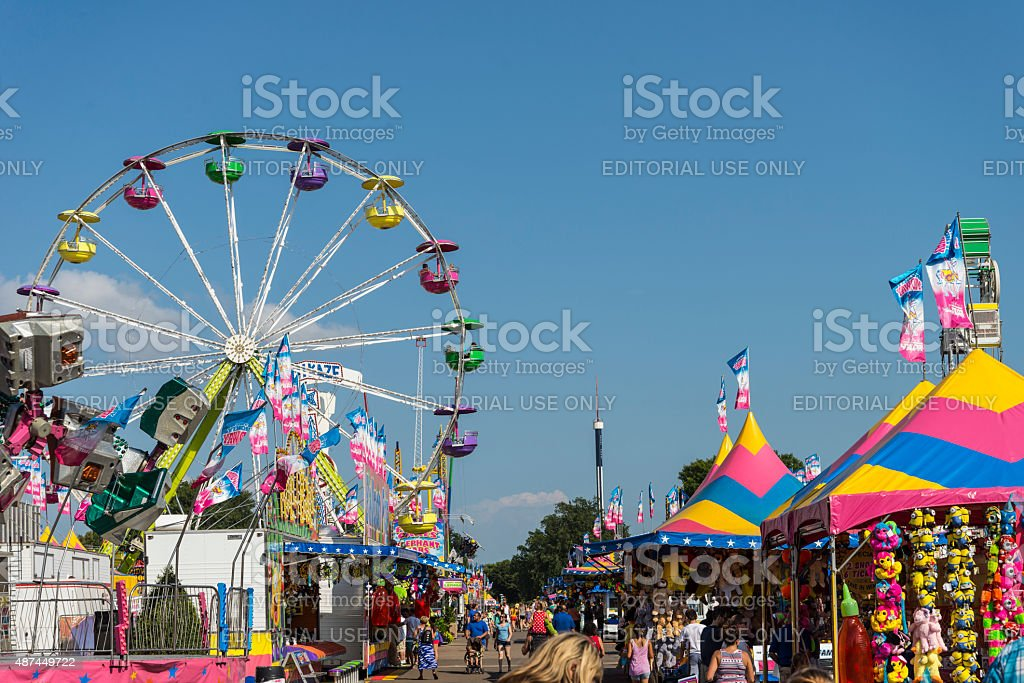 Rides, Games and Crowds of People at Minnesota State Fair stock photo