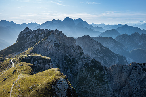 aerial view on the Julian Alps,Mangart