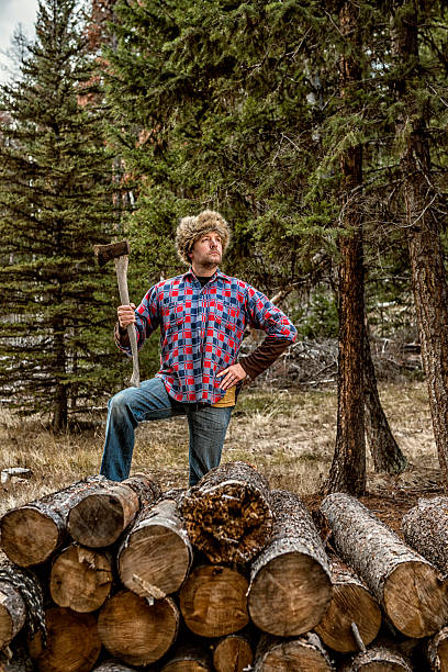 Ridiculously Competent Outdoors Man super outdoors man / canadian wilderness / and the coonskin cap lumberjack stock pictures, royalty-free photos & images