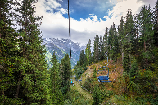 istock Riding a cable car in Val Vanoste (Alto Adige, Italy) 1248789738