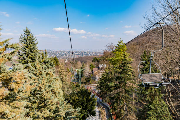 Riding a chair lift in Budapest stock photo