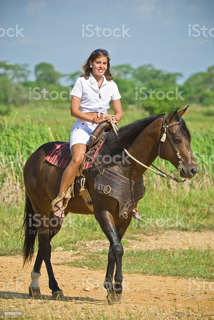 Riding a Horse royalty-free stock photo