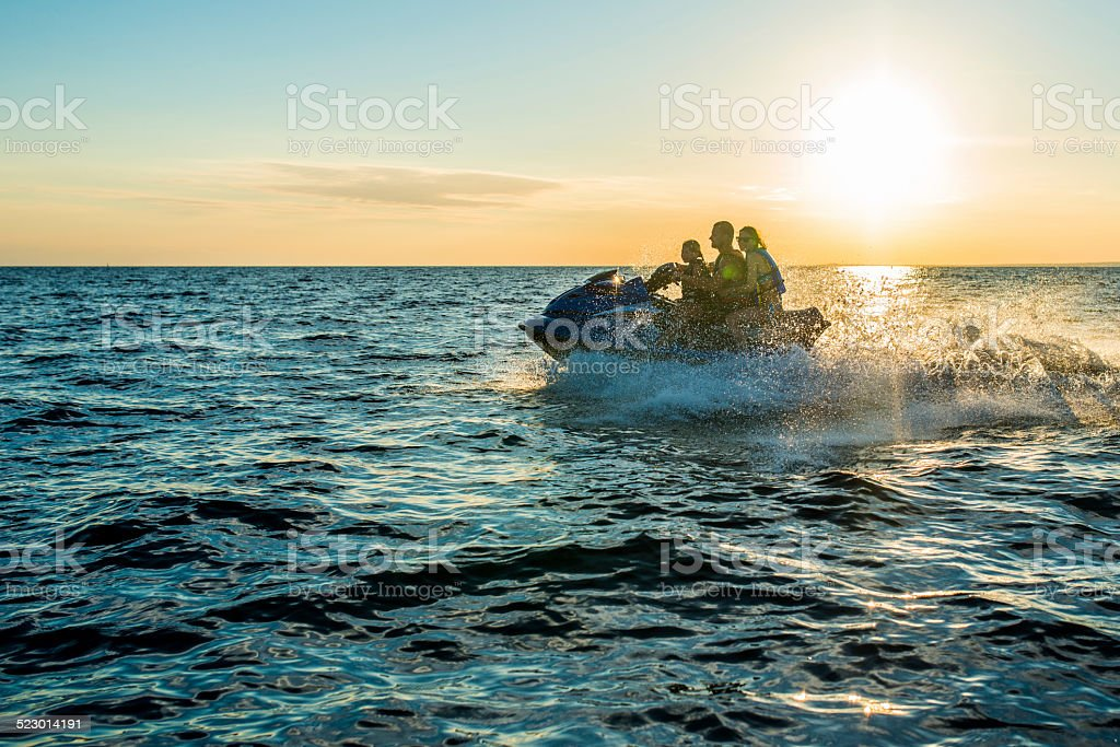 Riding A Jet Boat At Sunset stock photo