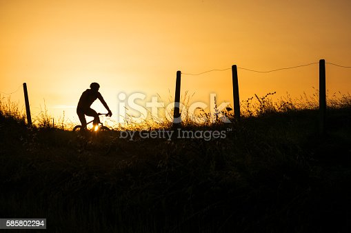 Riding a mountain bike at the golden hour of sunset