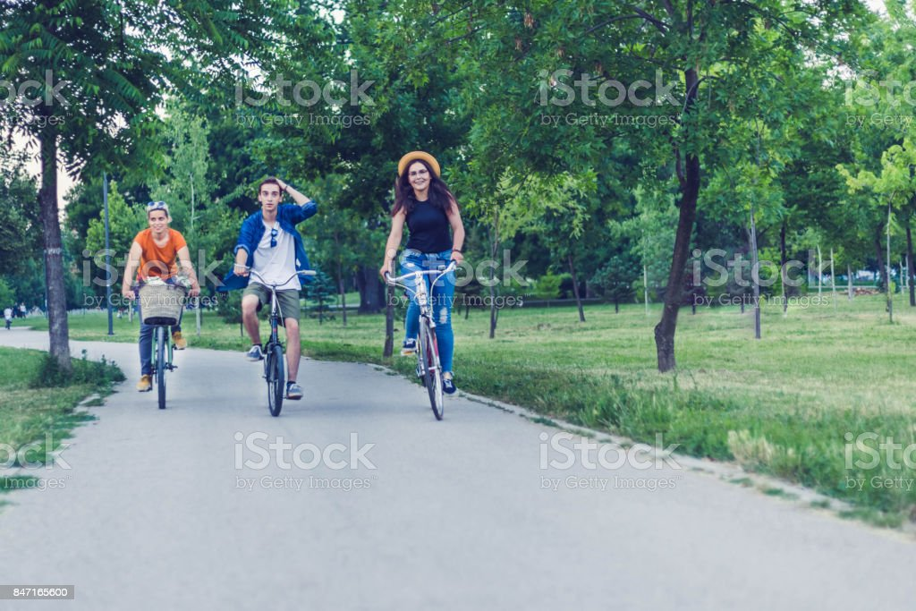 Riding bicycle is pleasure for us stock photo