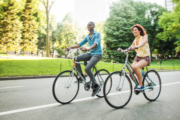 Riding bicycles at Central Park stock photo