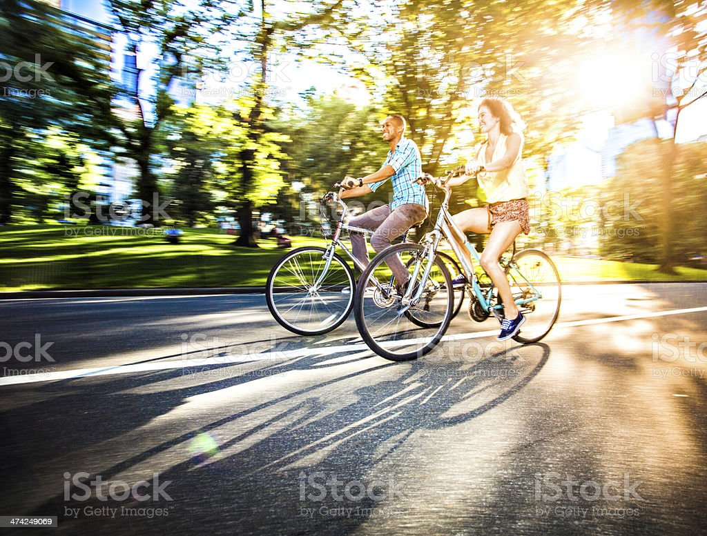Riding bikes in Central Park, New York royalty-free stock photo