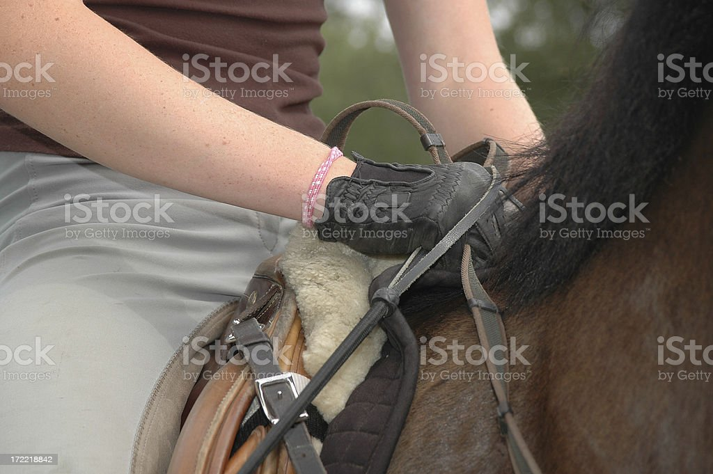 Riding English Woman gripping reins of a horse riding English. Adult Stock Photo