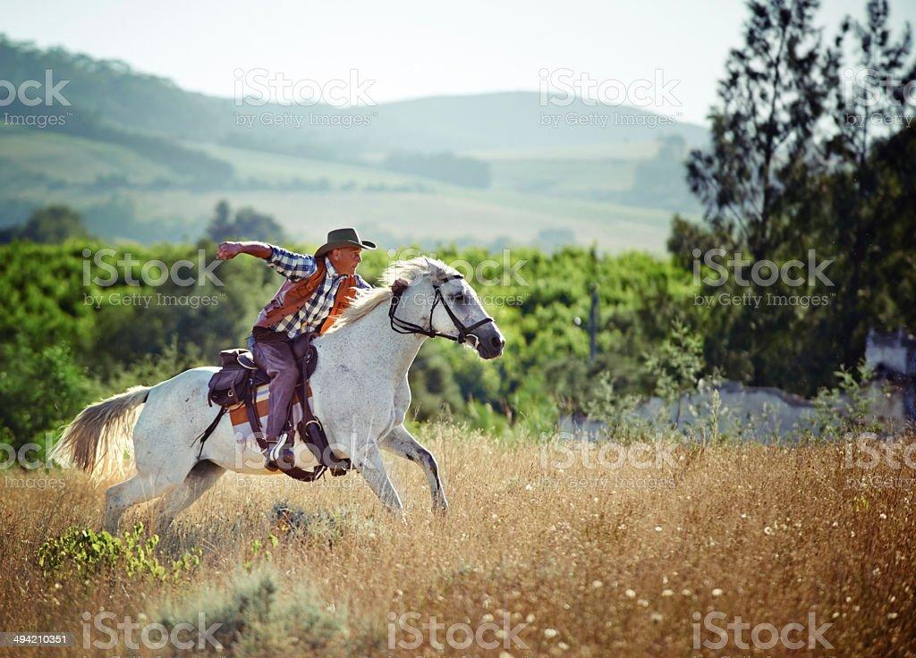 Riding full tilt royalty-free stock photo