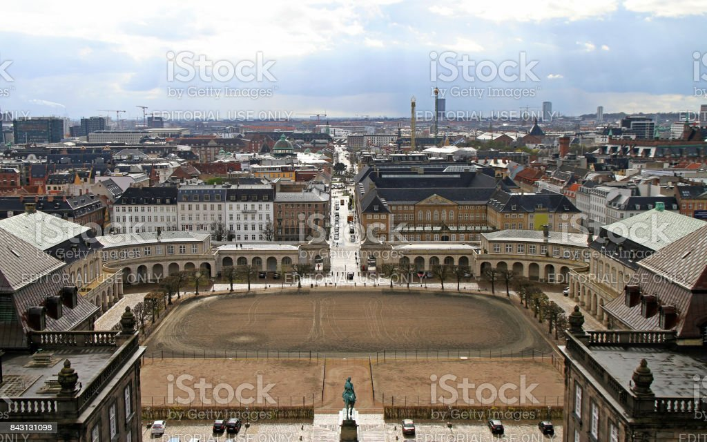 Riding ground complex in front of Christiansborg palace stock photo