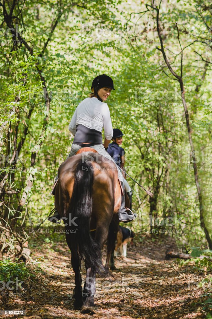 Riding in nature stock photo