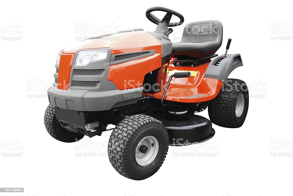 Riding lawn mower against white background stock photo