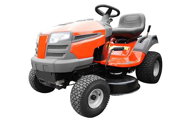 riding lawn mower against white background - riding lawn mower stock photos and pictures