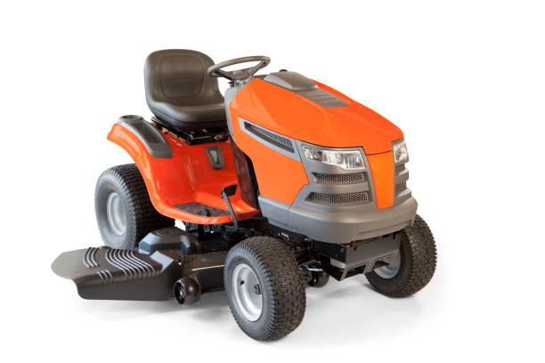 riding lawn mower isolated - riding lawn mower stock photos and pictures