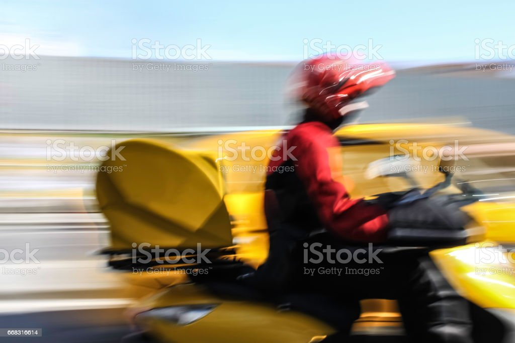 Riding motorbike stock photo