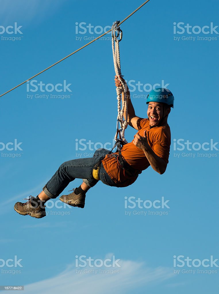 Riding on Canopy Tour stock photo