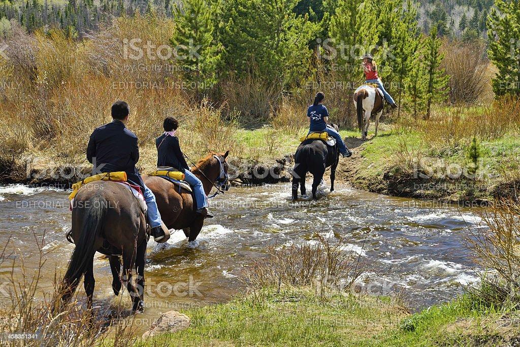 Riding on Horseback, Colorado stock photo
