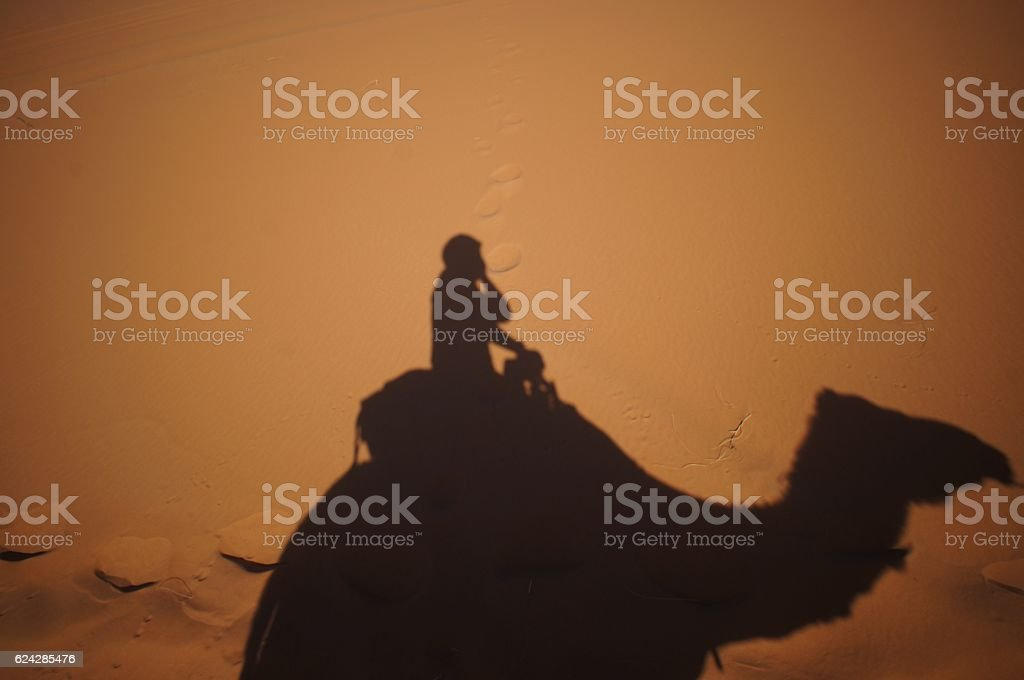 Riding on the camel in the dessert stock photo