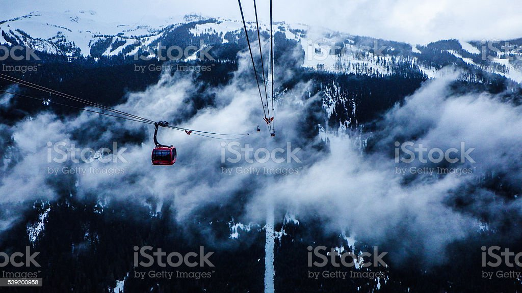 Riding over the clouds at Whistler stock photo