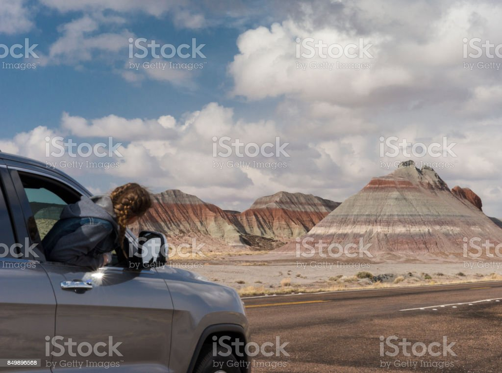 Riding past Teepees in the Painted Desert in the Petrified Forest stock photo