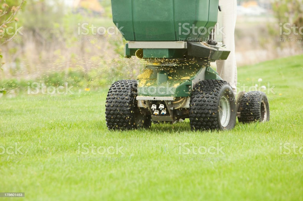 Riding Spreader Applying Fertilizer and Weed Control stock photo