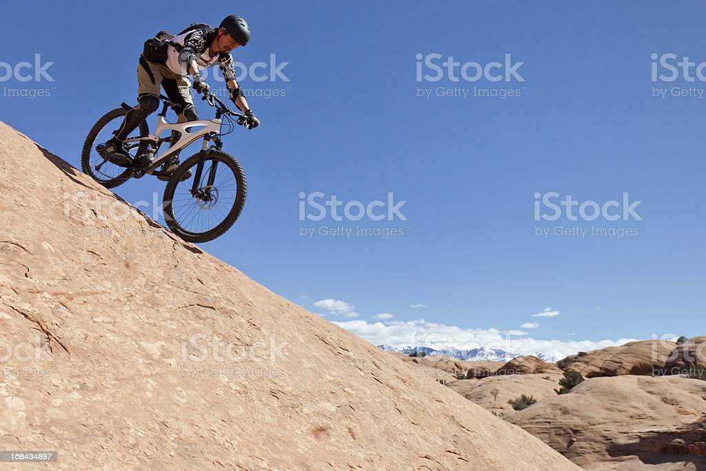 Riding steep at Slickrock Trail, Moab, Utah stock photo