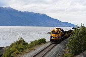 A train from the Alaska Railroad travels south along the Turnagain Army near Anchorage, Alaska.