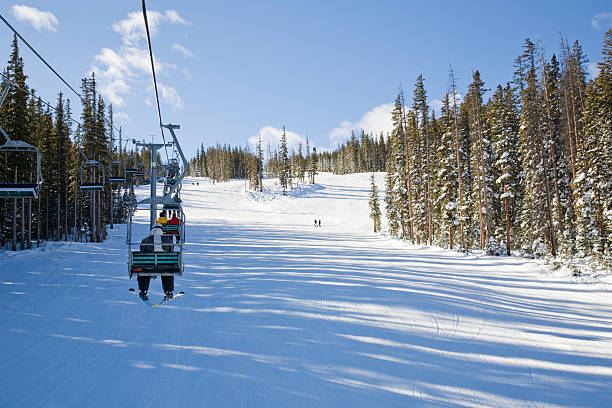 Riding the Chair at Beaver Creek Near the top at Beaver Creek Ski Area.For more Aspen and Beaver Creek: beaver creek colorado stock pictures, royalty-free photos & images