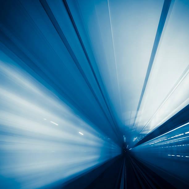 Riding through a metro tunnel in Paris, France stock photo