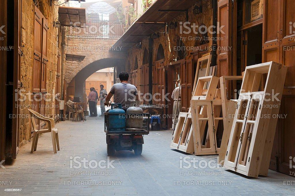 Riding through street of carpentry in Sidon, Lebanon royalty-free stock photo