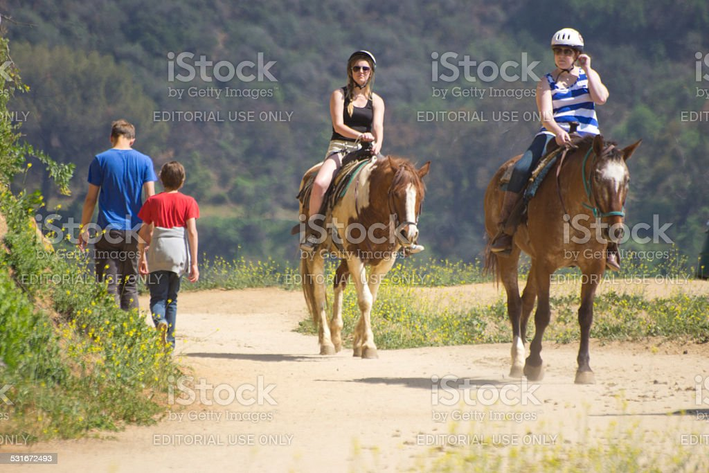 Riding track to Hollywood sign stock photo
