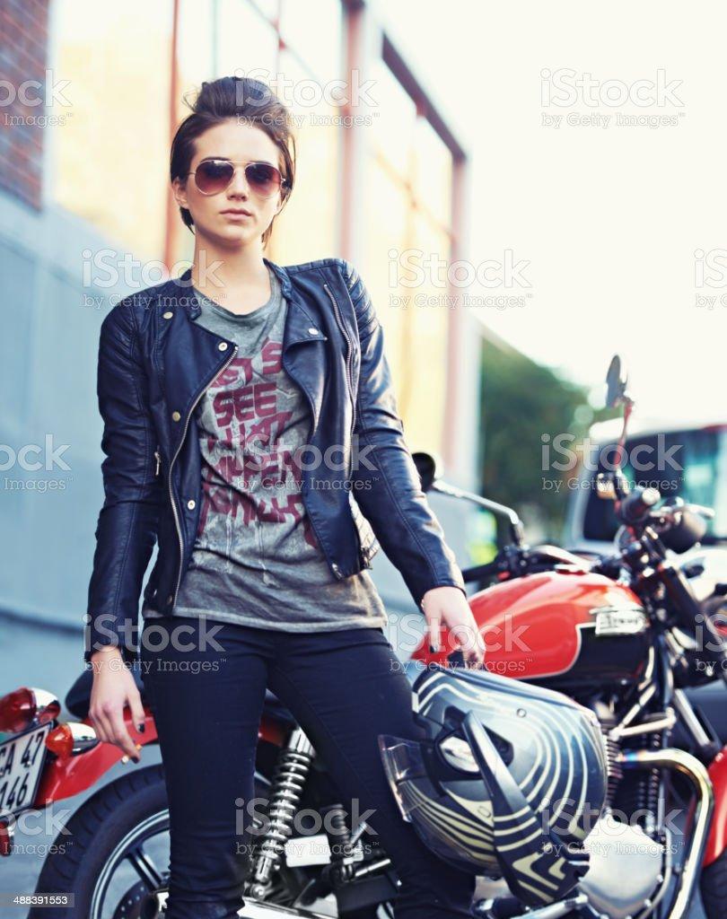 Riding with an attitude stock photo