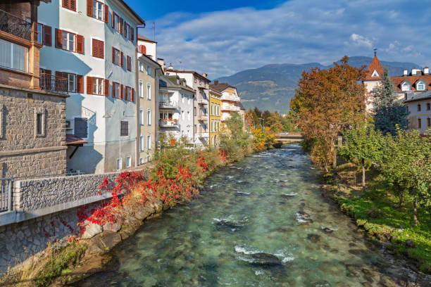 Rienz river in old town of Bruneck Rienz river in old town of Bruneck, South Tyrol bruneck stock pictures, royalty-free photos & images