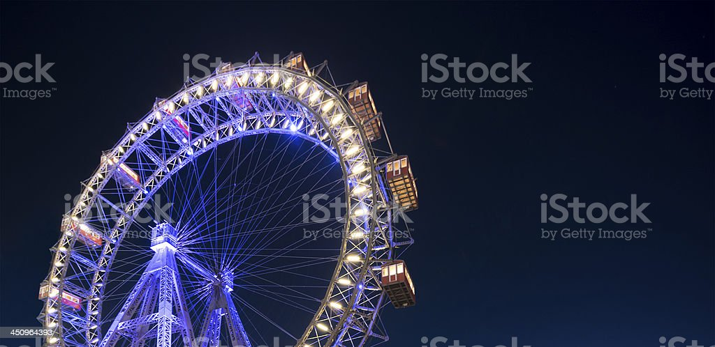 Riesenrad Vienna at night stock photo