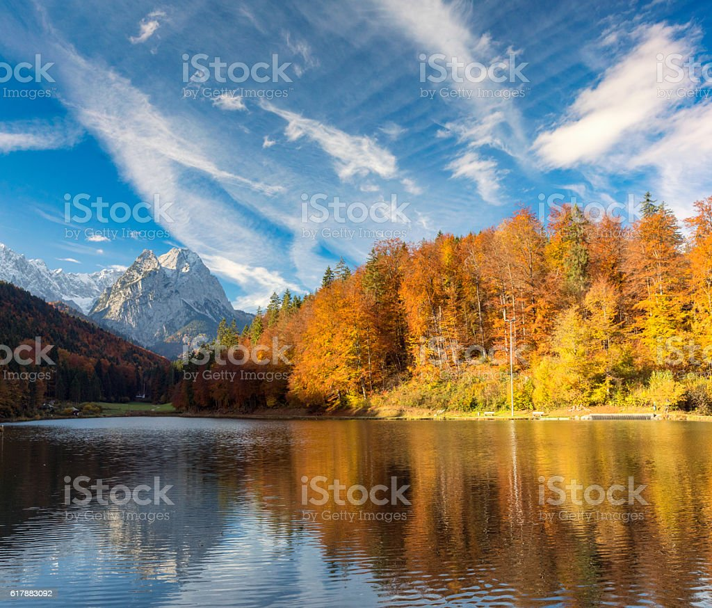 Riessersee and Zugzpitze at autumn stock photo
