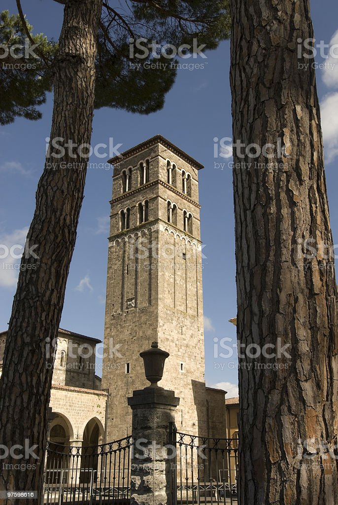 Rieti - Belfry and trees royalty-free stock photo