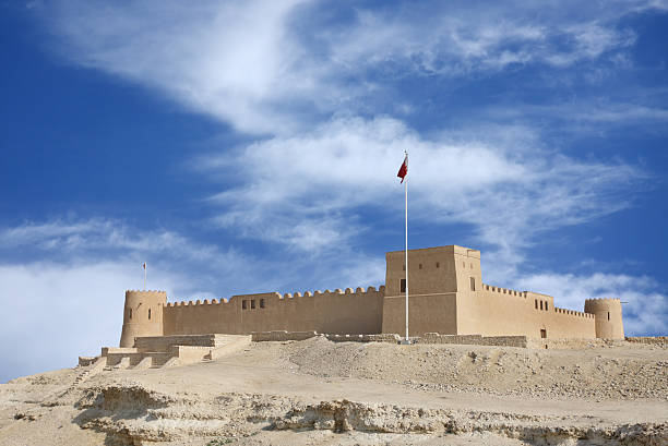 Riffa fort from the direction of Hunanaiya valley stock photo