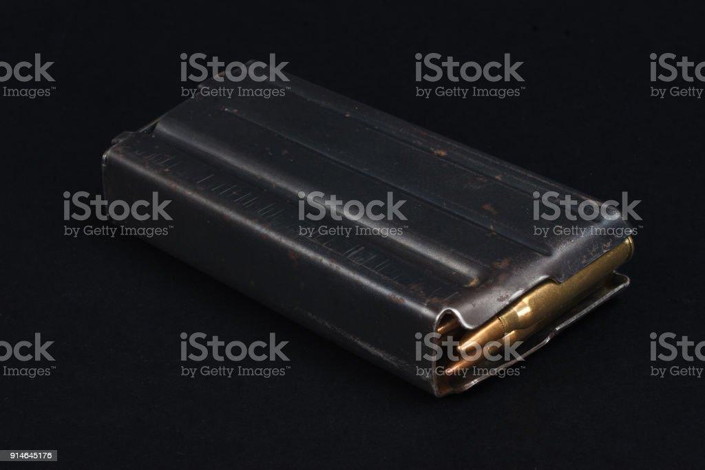 US ARMY M-16 Rifle 20rd Magazine Vietnam war period with ammo stock photo