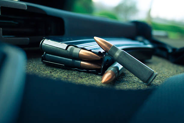 Rifle and Magazine with Ammo Cartridges stock photo