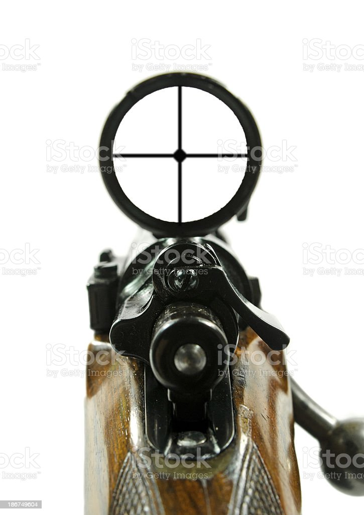 Rifle and Scope Plus Clipping Path stock photo