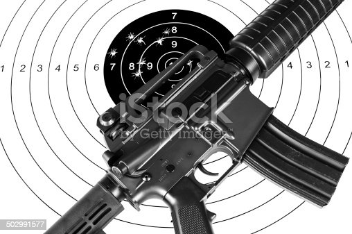 istock Rifle and shooting target 502991577