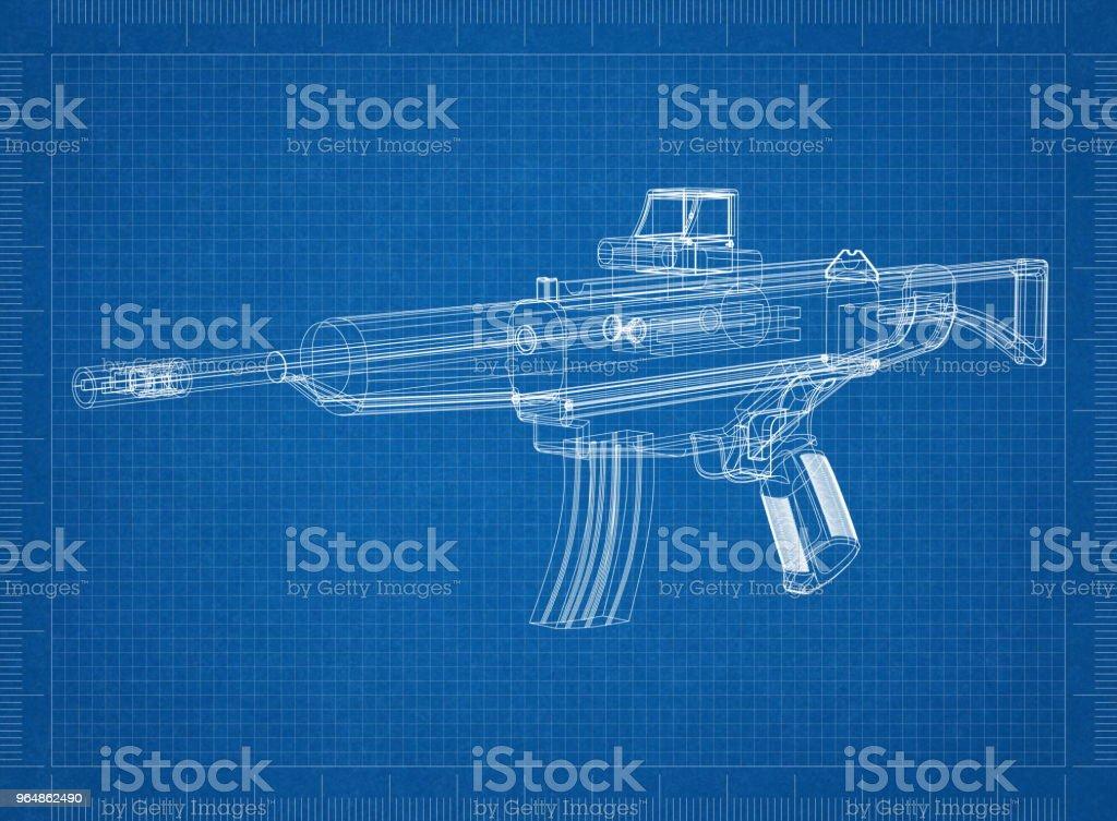 Rifle Architect blueprint royalty-free stock photo